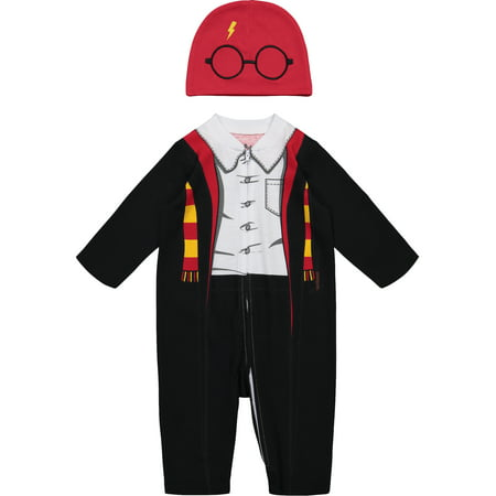 Harry Potter Newborn Baby Boys' Zip-Up Costume Coverall & Hat Set 3-6 Months - 7 Month Old Baby Halloween Costumes