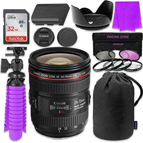 Canon EF 24-70mm f/4L IS USM Lens Bundle w/ SanDisk 32GB ...