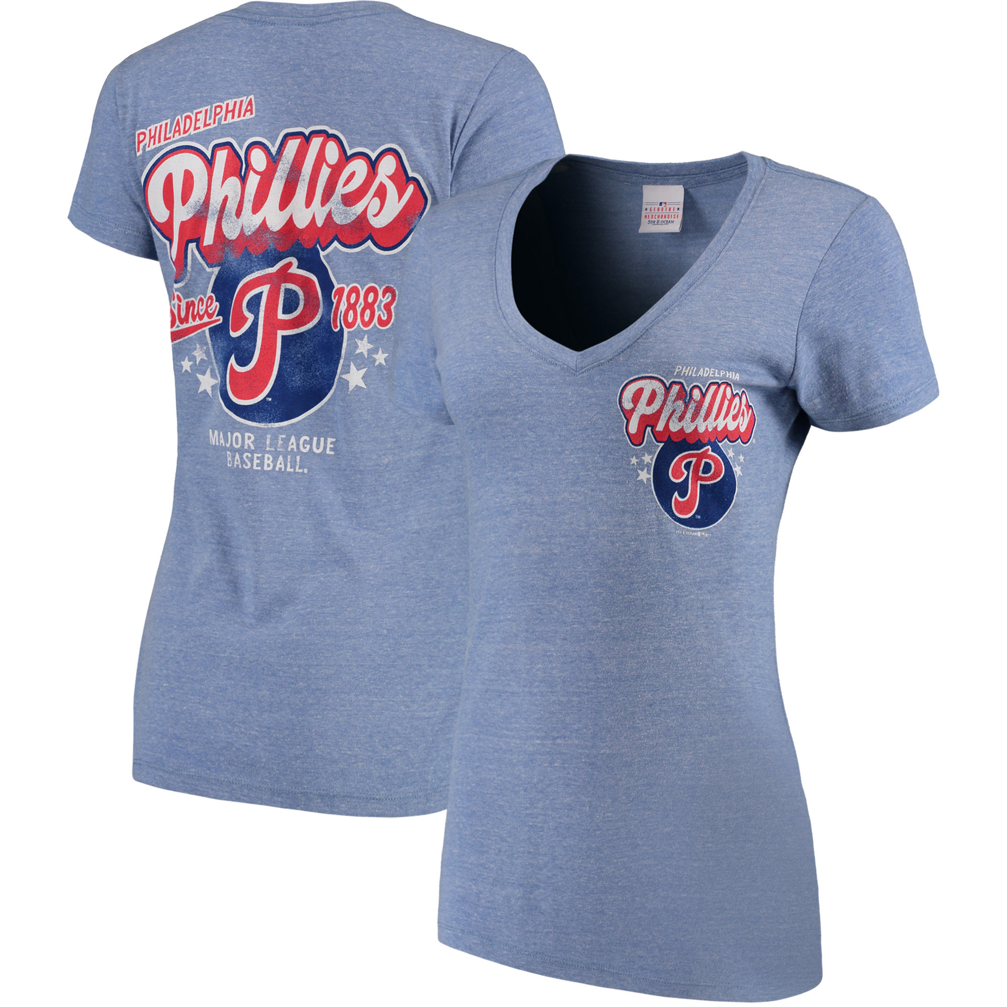 Philadelphia Phillies 5th & Ocean by New Era Women's Cooperstown Collection Tri-Blend V-Neck T-Shirt - Heathered Light Blue