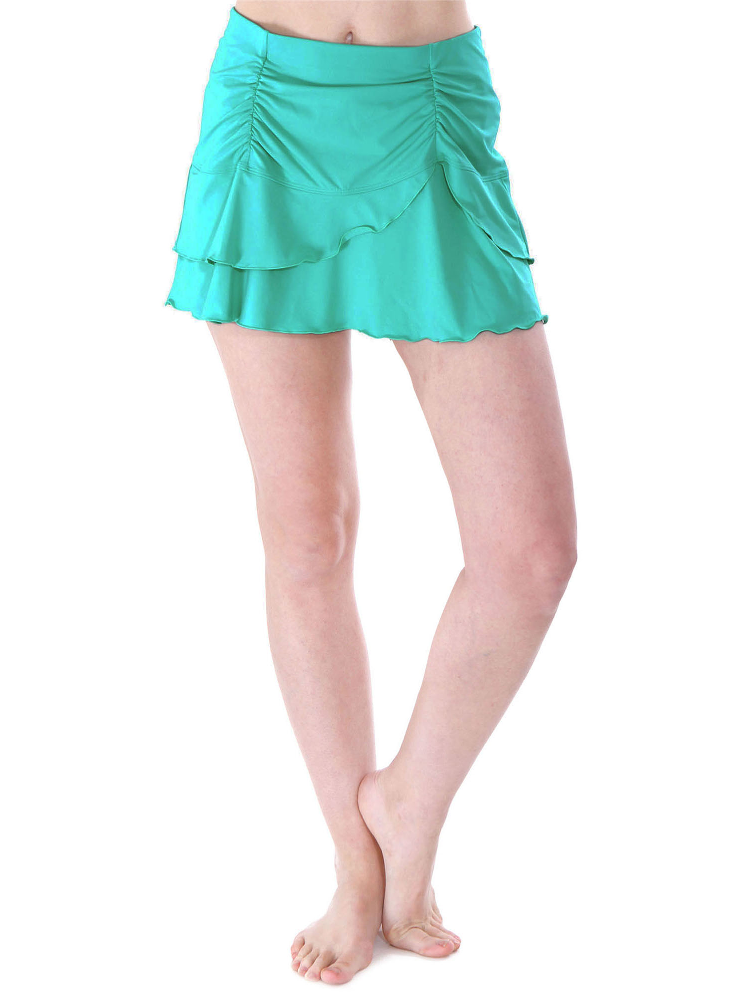 Women's Solid Ruffle Layered Swimsuit Beach Cover Up Skirt, Catalina Green, XL