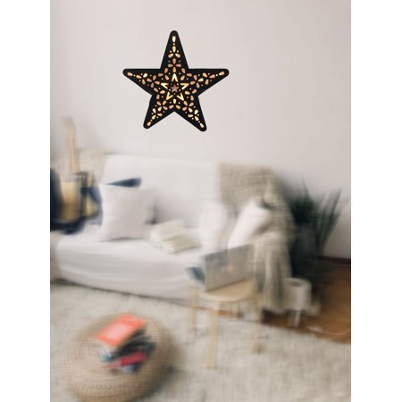 Creative Motion Battery-Operated 15 Light Warmwhite LED Star Light with Black PVC Holographic Paper; Product Size: 12.2x 12.79x 0.78 (Battery Black Light)