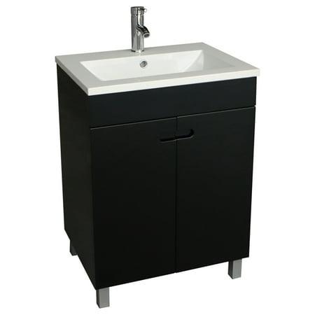 24 Bathroom Vanity Cabinet Wood Storage Black Single Vessel Sink Basin Faucet
