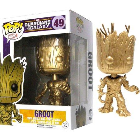 Funko Pop Marvel Custom Gold Groot Vinyl Bobble Head