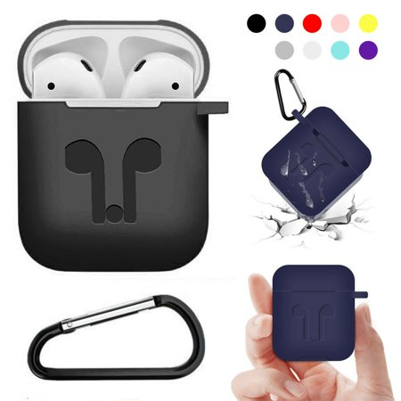 Waterproof Silicone Case Cover Protective Skin for Airpods Charging Case with Carabiner Keychain Belt Clip