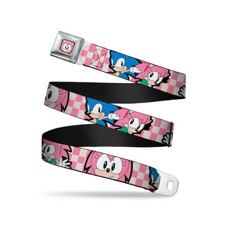 Amy & Sonic Poses Checker Pink/Off-White Webbing - Seatbelt Belt X-Large
