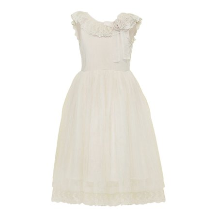 Designer Kids Little Girls Beige Lace Ruffle Brianna Flower Girl