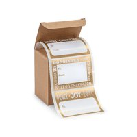 Jumbo Golden - Gold and White Holiday Peel and Stick Gift Tag Labels -72ct