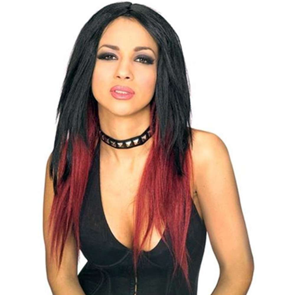 Womens  Pop Diva Costume Black Wig with Red Tips