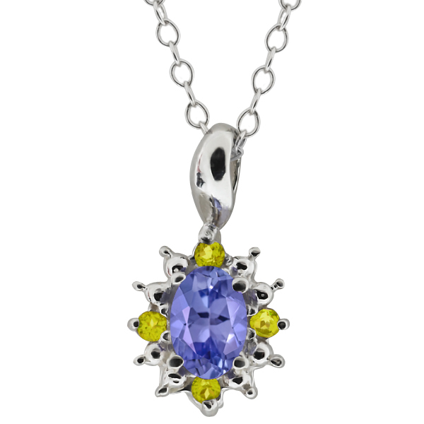 0.53 Ct Oval Blue Tanzanite and Canary Diamond 14k White Gold Pendant