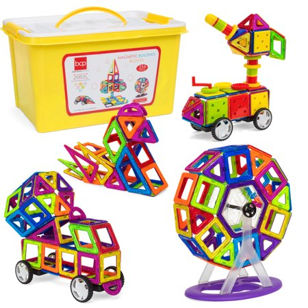 Best Choice Products 254-Piece Clear Multi Colors Magnetic Tiles Educational STEM Toy Building Set w/ Car & Carrying (Magnetic Jamber Set)