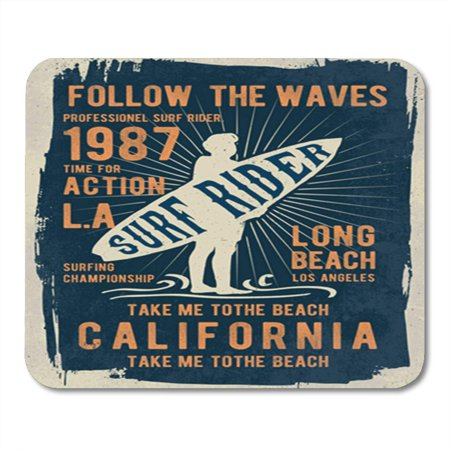 LADDKE Vintage Surf Graphics Label California College Retro Surfboard Tee Mousepad Mouse Pad Mouse Mat 9x10 inch