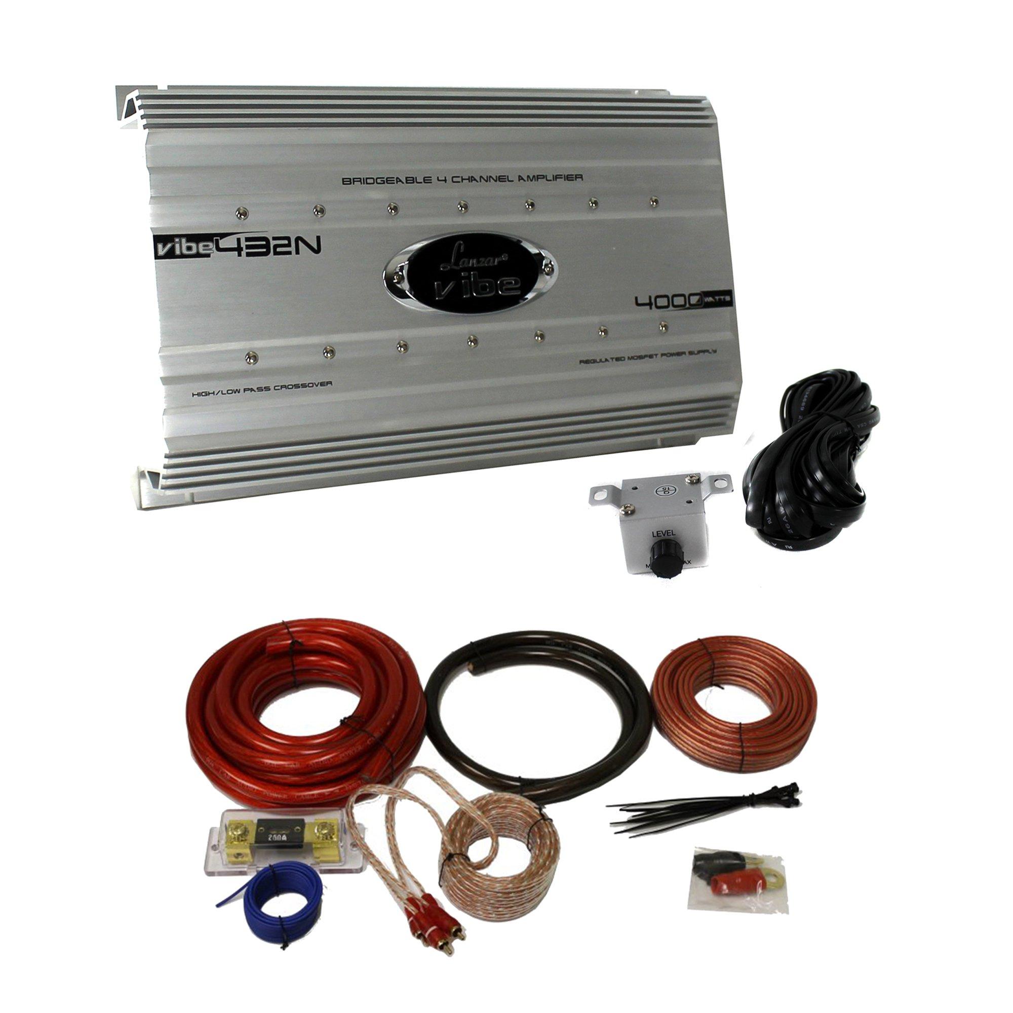 Lanzar 4000 Watt 4 Channel Bridgeable Car Audio Amplifier...