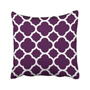 RYLABLUE Decorative Dark Purple and White Moroccan Quatrefoil Pillows Personalized Throw Pillow Case Decor Cushion Covers Stripes Size 18x18 inches Two Side