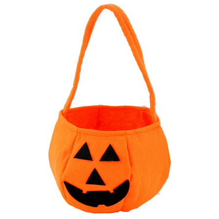 iLH Fashion Halloween Smile Pumpkin Bag Kids Candy Bag - Decorated Candy Apples Halloween
