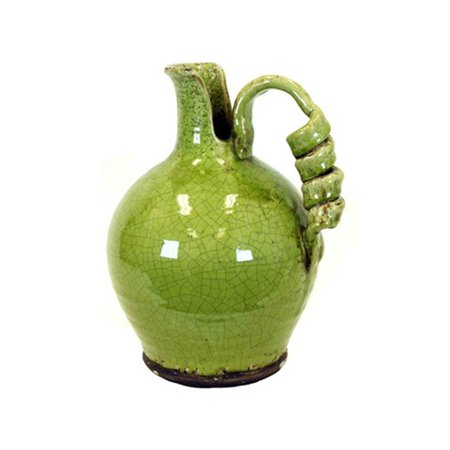 Antiquated Traditional Ceramic Tuscan Vase W Broad Round Body In Green