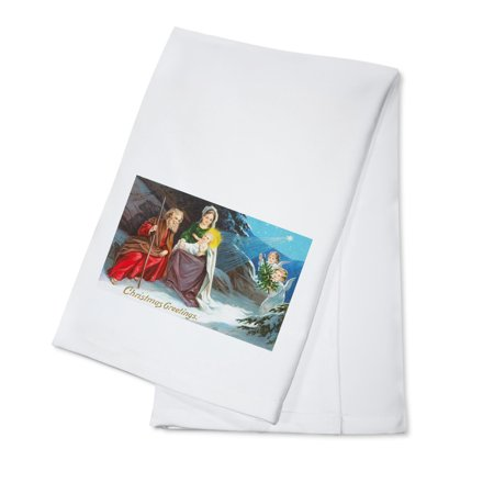 Christmas Greetings, Nativity Scene in Snow with Angels (100% Cotton Kitchen Towel)