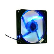 Apevia CF12SL-TBL 120mm Blue LED Fan with 3-pin & 4-pin Connectors and Black Grill