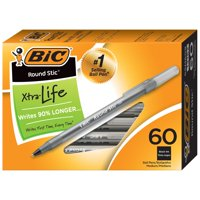 BIC Round Stic Xtra Life Ball Pen, Medium Point (1.0mm), Black, 60-Count, Flexible Round Barrel for Writing Comfort