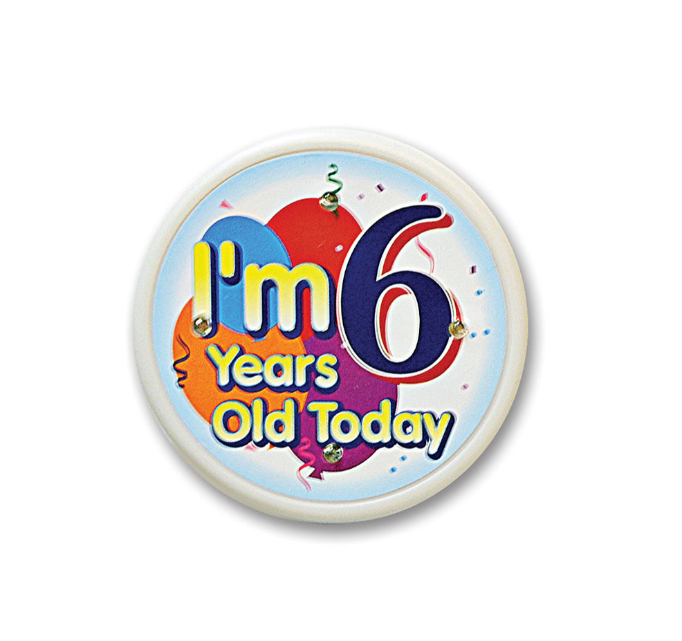 "Pack of 6 White ""I'm 6 Years Old Today"" Child Birthday Celebration Buttons 2.5"""