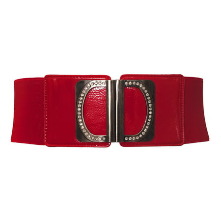 eVogues Plus Size Rhinestone Accented Wide Elastic Belt Red (Wide Red Belt Plus Size)