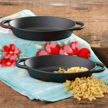 The Pioneer Woman Timeless Beauty Pre-Seasoned Plus Cast Iron Mini Au Gratin Set, Set of 2