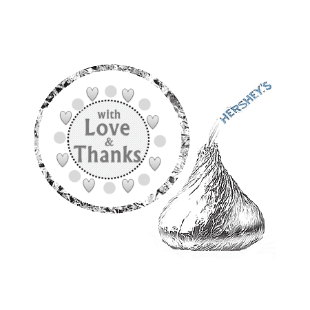 216 With Love and Thanks  Party Favor Hershey's Kisses Stickers / Labels - (Miniature Silver Chair Favor Box)
