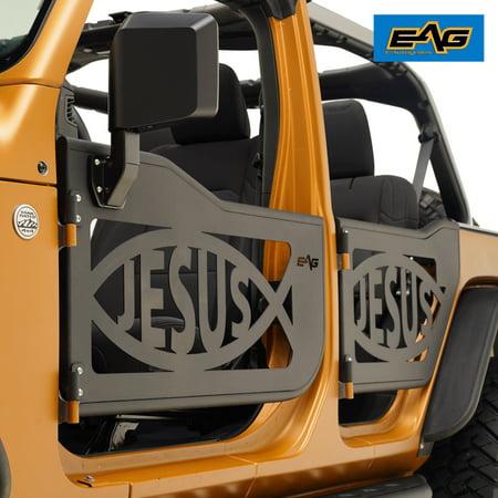 4dr Lambo Door (EAG For 18-19 Jeep JL Wrangler 4Dr Jesus Fish Tubular Door Full Set with Side Mirror)