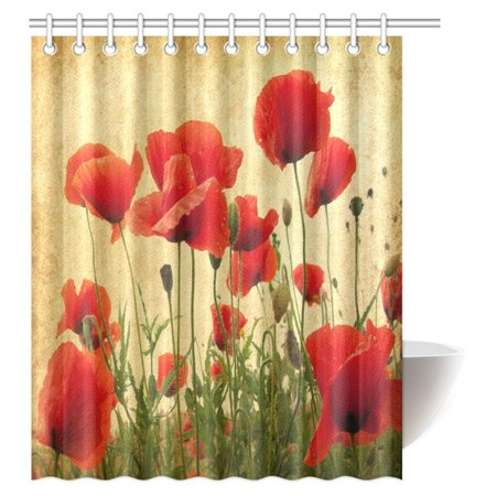 Leaf Spring Traction Bars - MYPOP Poppy Decor Shower Curtain, Spring Wildflower Poppy Leaf Garden Backyard Image Pattern Fabric Bathroom Shower Curtain with Hooks, 60 X 72 Inches