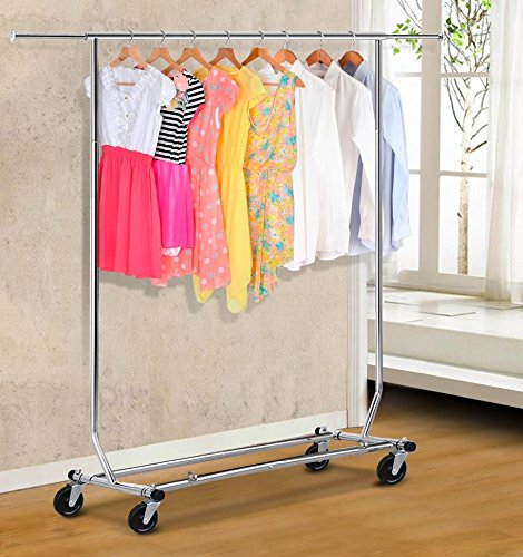 YaheeTech Rolling Collapsible Clothing Garment Rack Hanger Holder,Chrome Finish