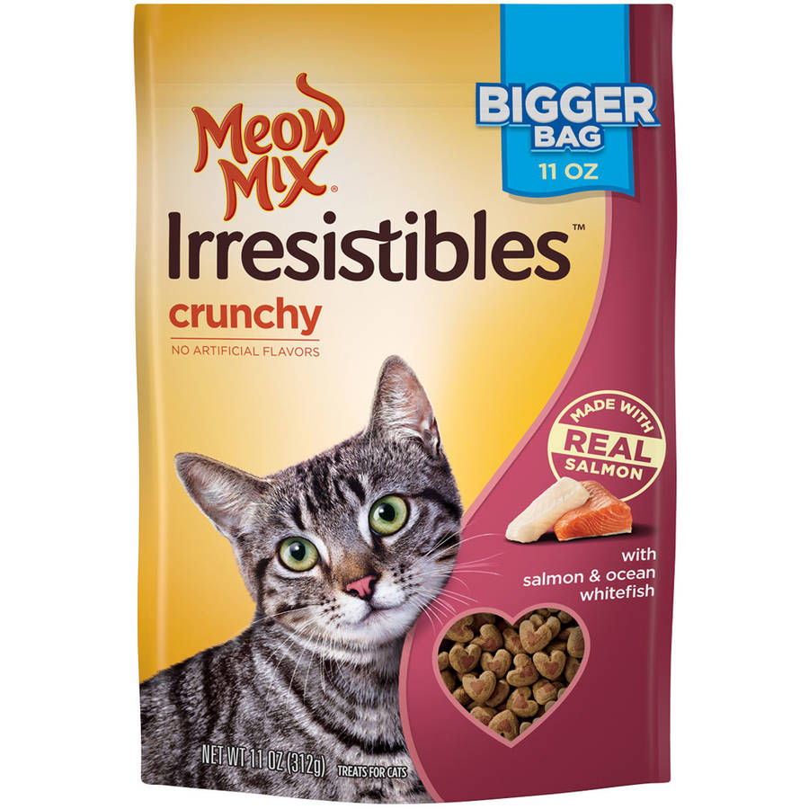 Meow Mix Irresistibles Cat Treats, Crunchy with Salmon and Ocean Whitefish, 11 oz
