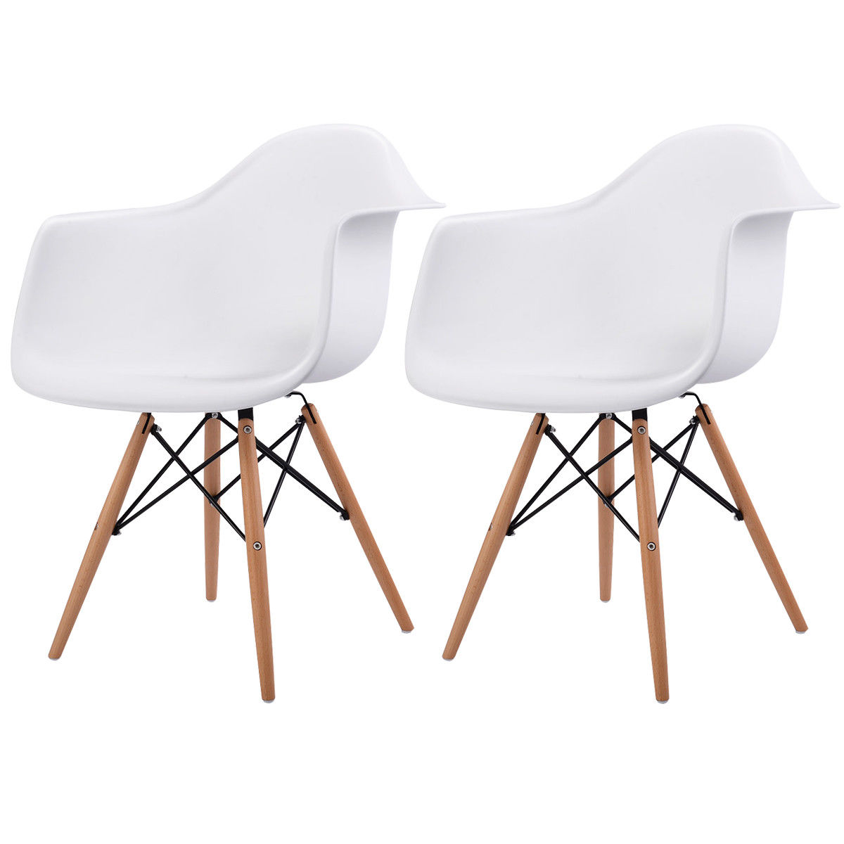 Costway Set of 2 Mid Century Modern Molded Style Dining Arm Chair Wood Legs