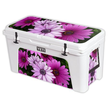 MightySkins Protective Vinyl Skin Decal for YETI Tundra 110 qt Cooler Lid wrap cover sticker skins Blue Flowers -  YETUND125-Purple Flowers