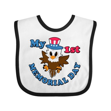 1st Birthday Hat And Bib (My 1st Memorial Day with Baby Eagle wearing Patriotic Hat Baby Bib White/Black One)
