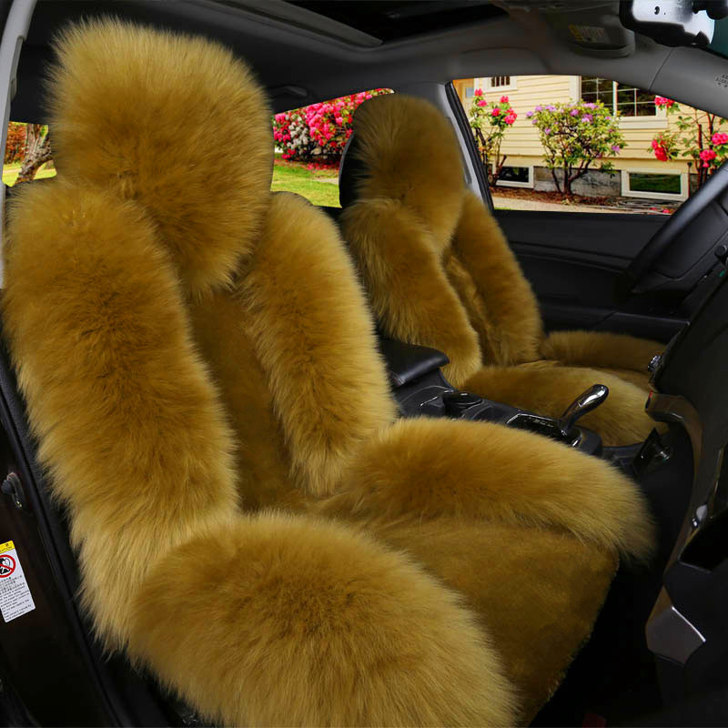 Winter Soft Warm Faux Rabbit Fur car seat Cushion,Universal fit Plush Front and Back Fuzzy car seat Pads Cushion Cover Protector 1pcs Front seat 1pcs,red