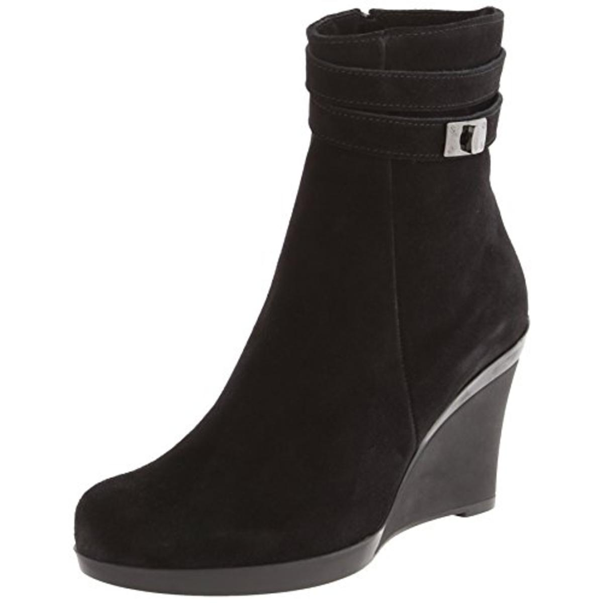 La Canadienne Womens Ivery Suede Ankle Wedge Boots