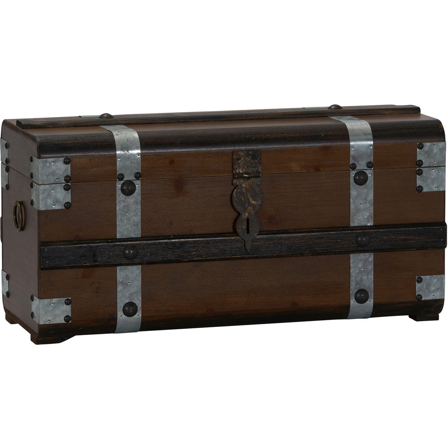 HOUSEHOLD ESSENTIALS Steel Band Wood Storage Trunk, Small
