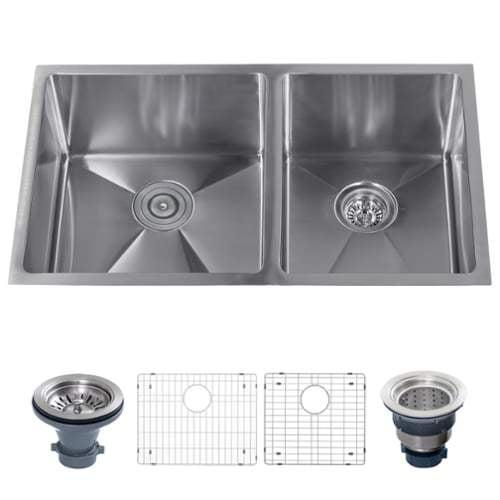 "Miseno MSS3219SR6040 32"" Undermount Double Basin Stainless Steel Kitchen Sink wi"