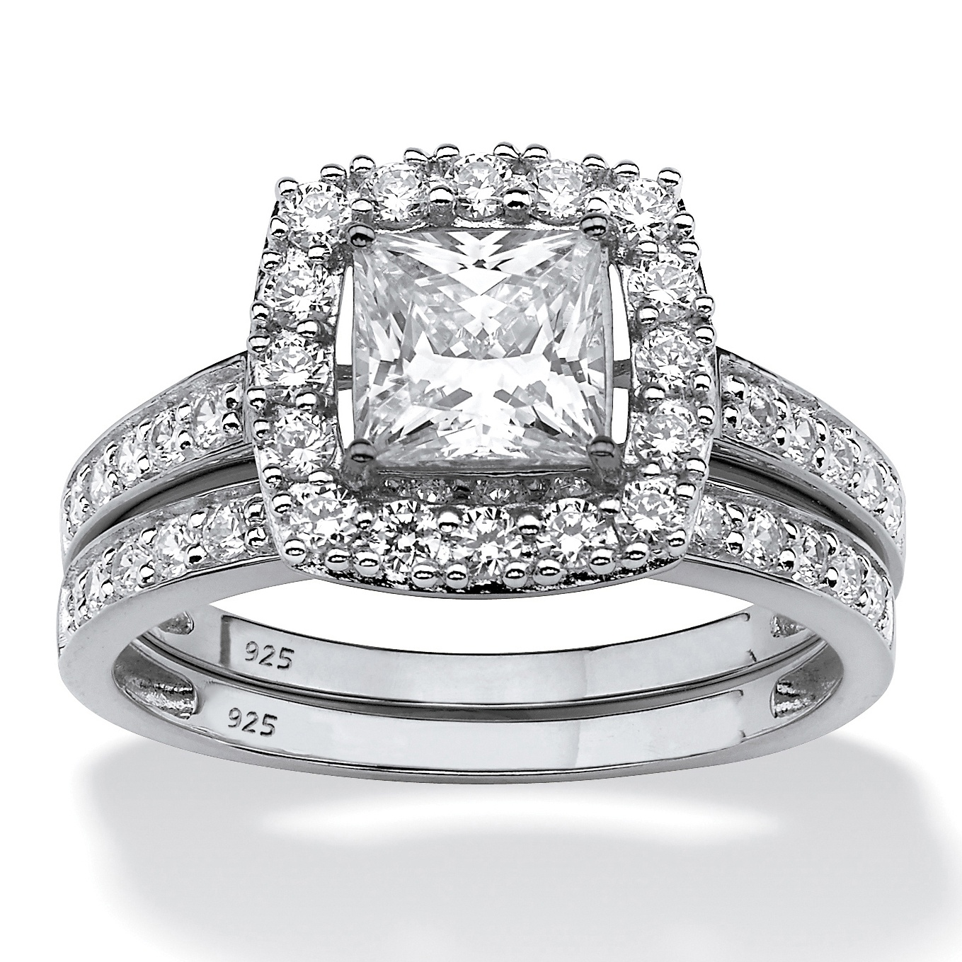 Princess-Cut Created White Sapphire 2-Piece Halo Wedding Ring Set 2.60 TCW in Platinum over Sterling Silver by PalmBeach Jewelry