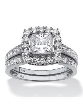 Princess-Cut Created White Sapphire 2-Piece Halo Wedding Ring Set 2.60 TCW in Platinum over Sterling Silver