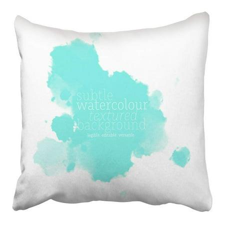 BSDHOME Teal Splash Celeste Blue Watercolor Green Abstract Watercolour Subtle Pastel Pillowcase Cushion Cover 16x16 inch - image 1 de 1