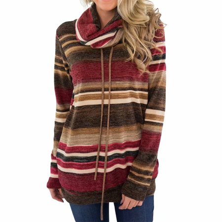 Bad Christmas Sweaters (INNOVEE Womens Stripe Pattern Hoodies Pullover, Christmas Sweatshirts for Women, Cowl Neck Tunic)