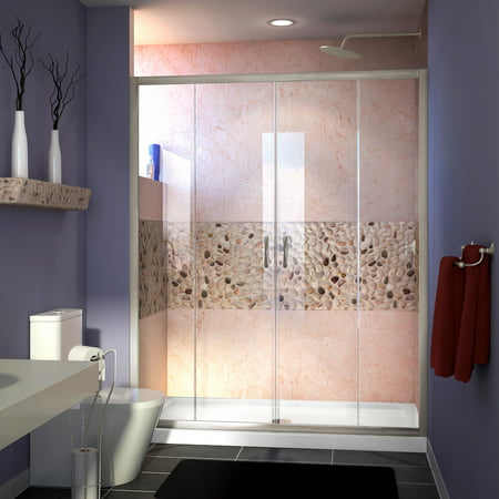 DreamLine Visions 56-60 in. W x 72 in. H Semi-Frameless Sliding Shower Door in Brushed Nickel