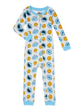 Sesame Street Baby Boys & Toddler Boys Cookie Monster Snug Fit Cotton 1-Piece Footless Pajamas (9M-5T)
