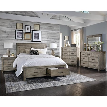 Rustic cal king storage bedroom set 5pcs greystone a - California king storage bedroom sets ...