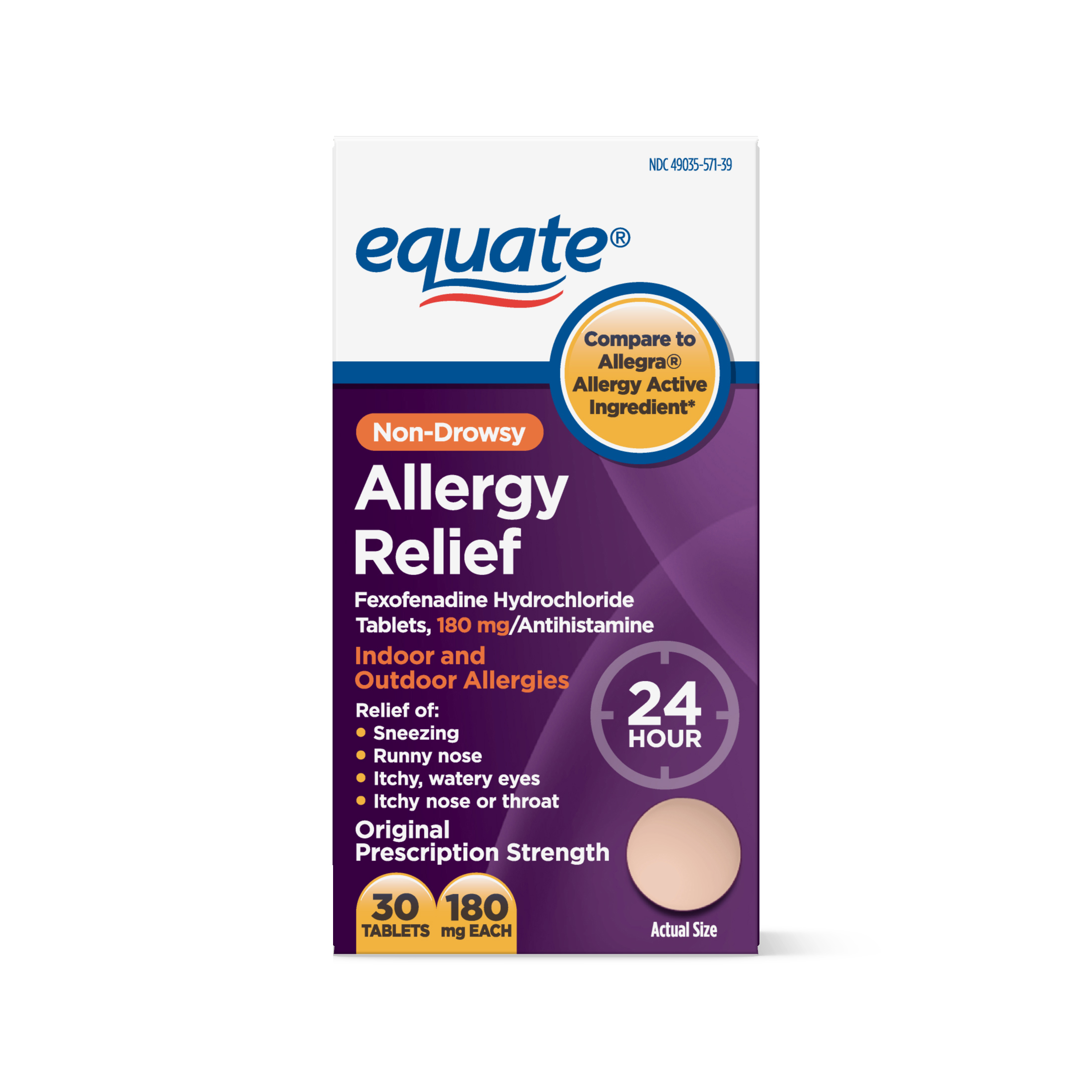Equate Allergy Relief Fexofenadine Tablets, 180 mg, 30 Ct - Walmart.com at Walmart - Vision Center in Connersville, IN | Tuggl