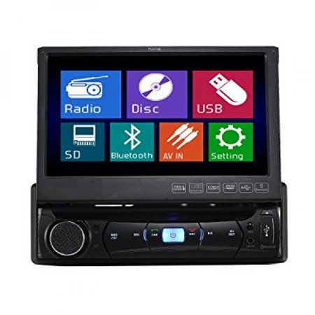 Tuvva Ksd7843b In Dash Car Multimedia Receiver 1 Din 7 Inch Motorized Touchscreen Dvd   Cd   Usb   Aux In   Mp4   Mp3 Player Rds Radio Bluetooth Audio Streaming Hands Free Calls With Remote Control