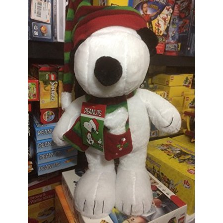 20 Inch Peanuts Snoopy In Red & Green Santa Hat and Scarf Christmas Plush Greeter (Snoopy Hat)