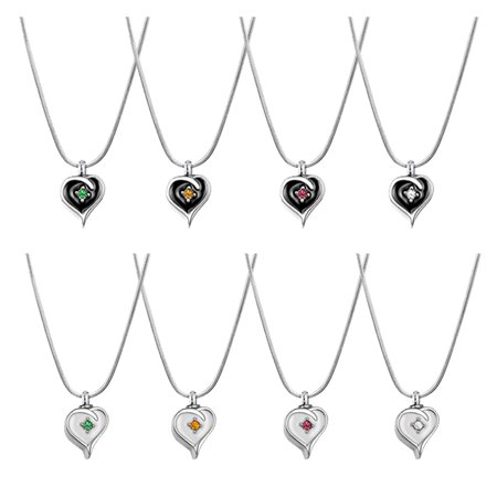 Crystal Mini Heart Memorial Cremation Jewelry Urn Ashes Holder Necklace (Black - Clear)