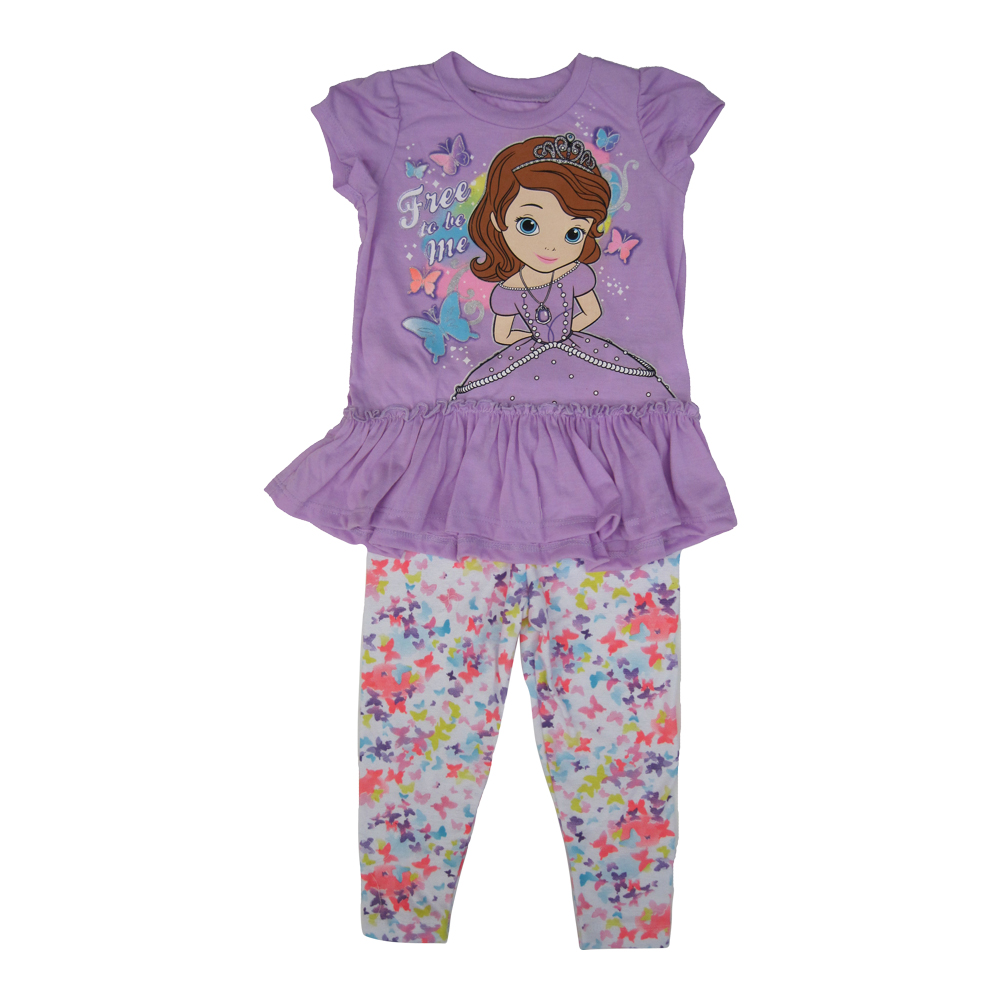 Disney Little Girls Violet Sofia The First Butterfly 2 Pc Legging Set 2-4T