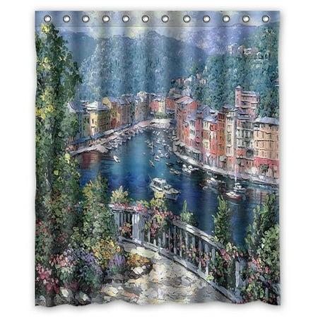 HelloDecor Italy Portofino watercolor Shower Curtain Polyester Fabric Bathroom Decorative Curtain Size 60x72